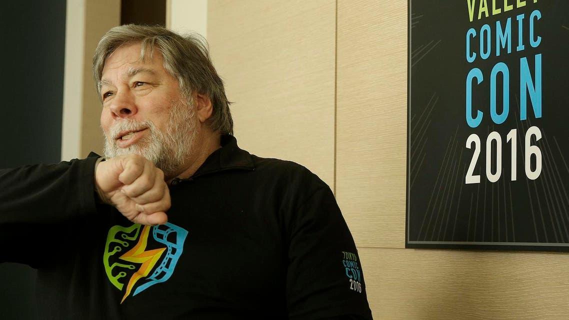 Apple co-founder Steve Wozniak speaks into his Apple Watch while interviewed in San Francisco. (AP)