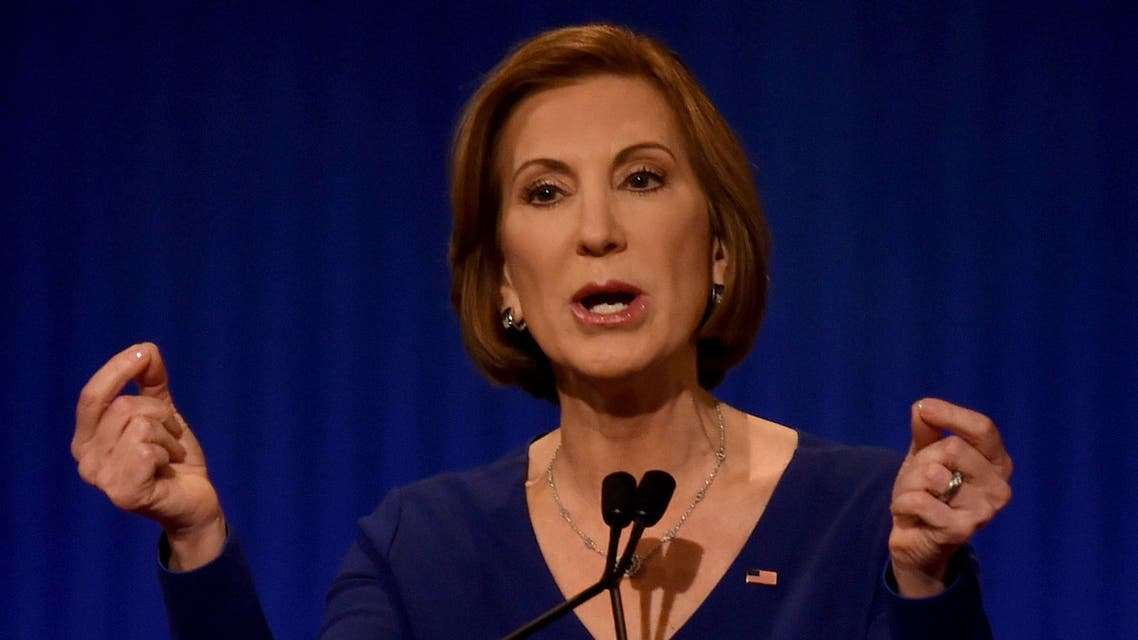 This file photo taken on January 14, 2016 shows Republican Presidential candidate Carly Fiorina during the under card Republican Presidential debate sponsored by Fox Business and the Republican National Committee at the North Charleston Coliseum and Performing Arts Center in Charleston, South Carolina.