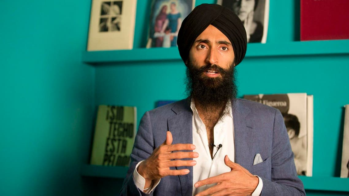Waris Ahluwalia, a member of the Sikh community, gives an interview in Mexico City. (AP)