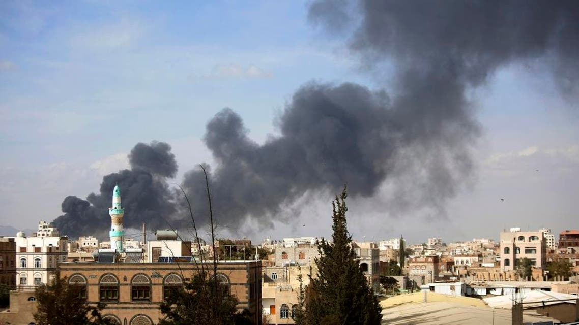 Smoke rises after Saudi-led airstrikes hit a site in Sanaa, Yemen, Saturday, Jan. 30, 2016. Airstrikes by the Saudi-led coalition targeting Yemen's Shiite rebels killed over 32 people overnight including at least eight civilians in the capital, Sanaa, officials said on Saturday. (AP Photo/Hani Mohammed)