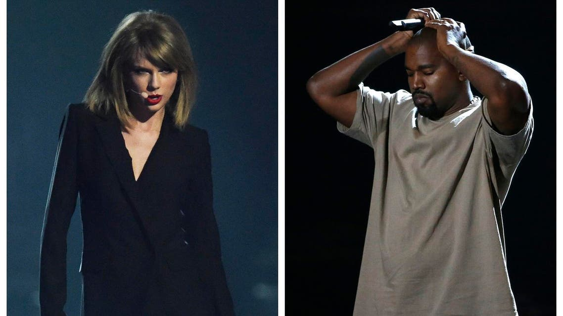 A combination photo shows singer Taylor Swift (L) in Greenwich, London on February 25, 2015 and Kanye West in Los Angeles, California on August 30, 2015. reuters