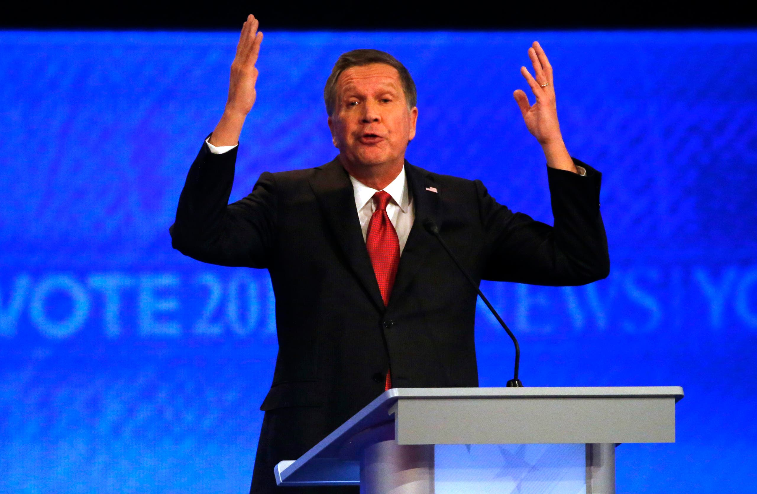 Republican U.S. presidential candidate Governor John Kasich speaks during the Republican U.S. presidential candidates debate sponsored by ABC News at Saint Anselm College in Manchester, New Hampshire February 6, 2016