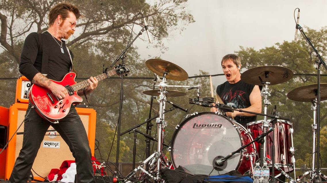 Jesse Hughes and Jeff Friedl with Eagles of Death Metal seen at Riot Fest & Carnival in Douglas Park on Friday, Sept. 11, 2015 in Chicago. AP