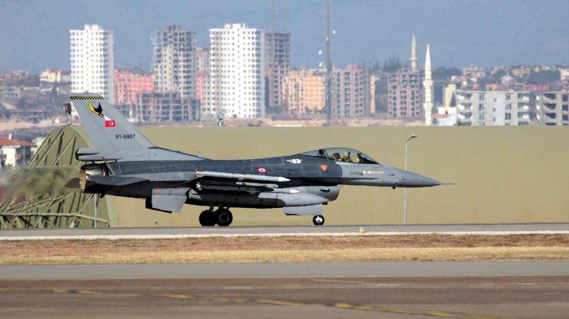 A Turkish Air Force F16 fighter jet prepares to take off after Defense Secretary Ash Carter visited the Incirlik Air Base near Adana, Turkey, Tuesday, Dec. 15, 2015. AP
