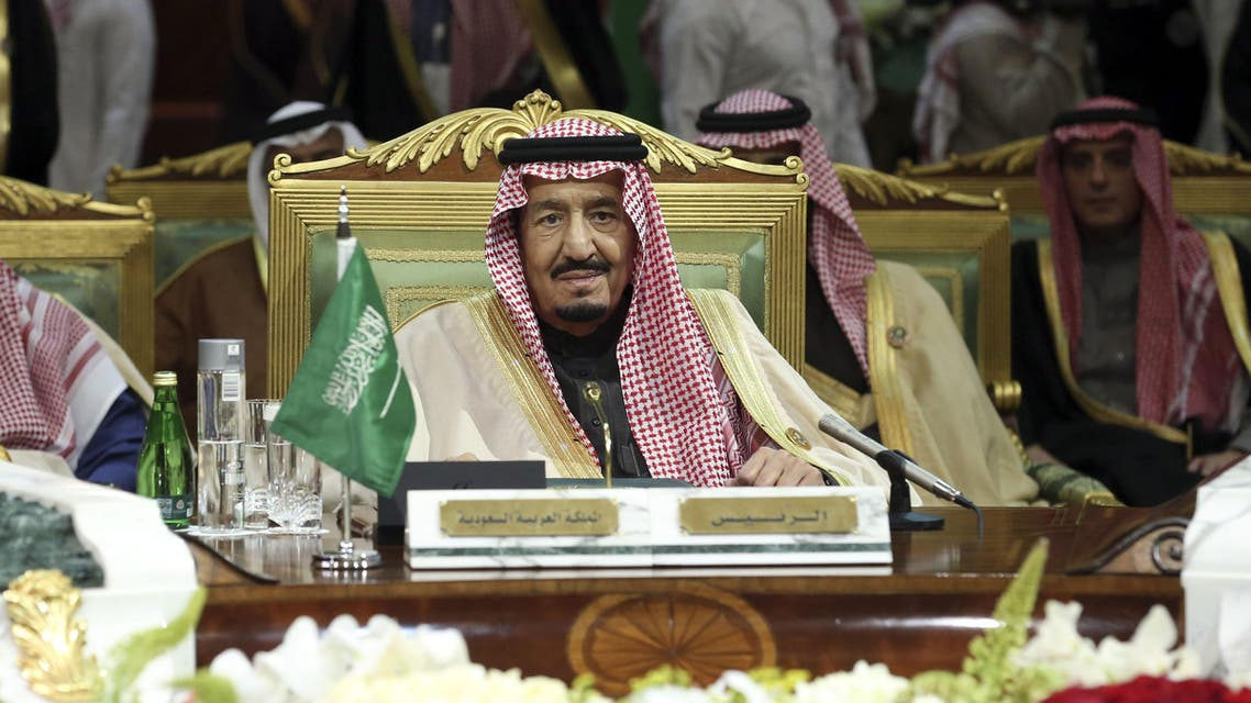 King Salman of Saudi Arabia, center, attends the closing session of the 36th Gulf Cooperation Council Summit in Riyadh, Saudi Arabia, Thursday, Dec. 10, 2015. (AP