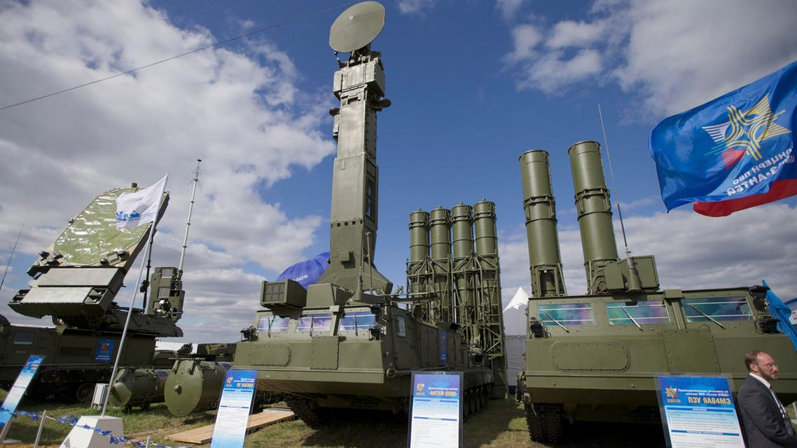 In this file photo taken on Tuesday, Aug. 27, 2013 a Russian air defense missile system Antey 2500, or S-300 VM, is on display at the opening of the MAKS Air Show in Zhukovsky outside Moscow.