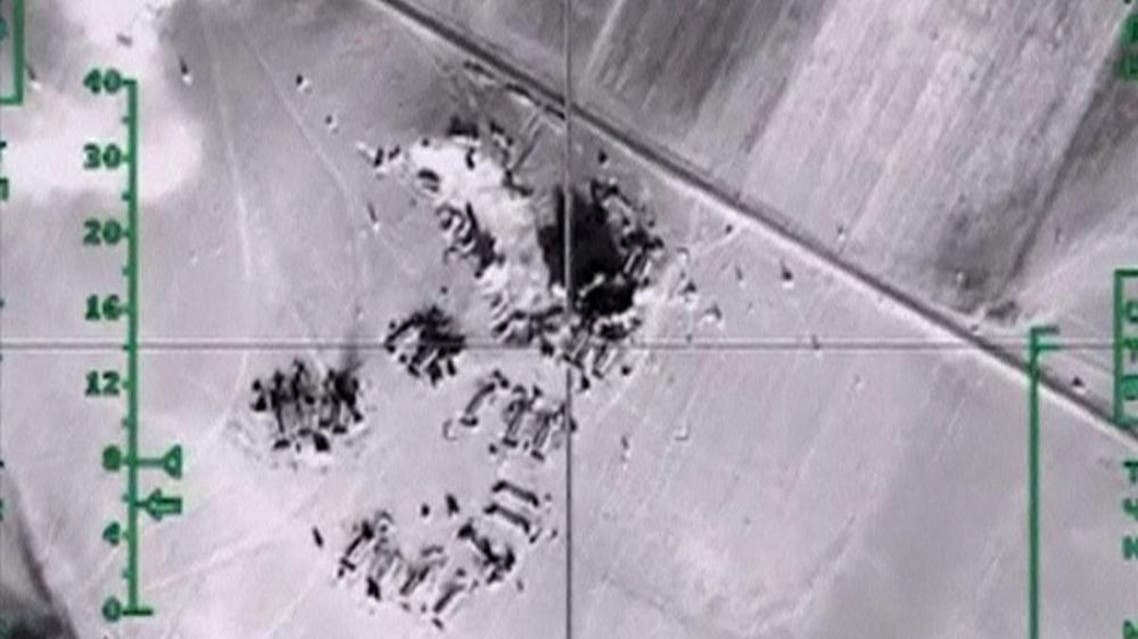 Still image taken from aerial footage shows airstrikes carried out by Russia's air force in Syria (Reuters)