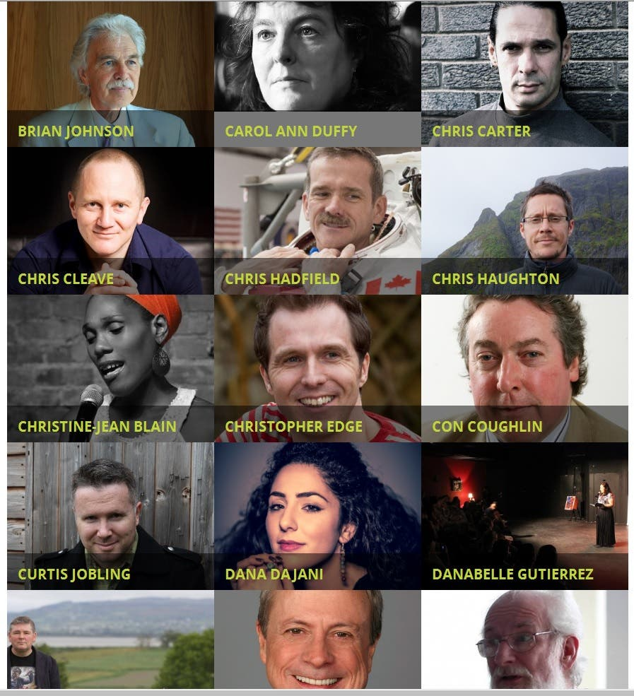 Some of the authors who are set to make an appearance at the festival. (Screengrab from emirateslitfest.com)