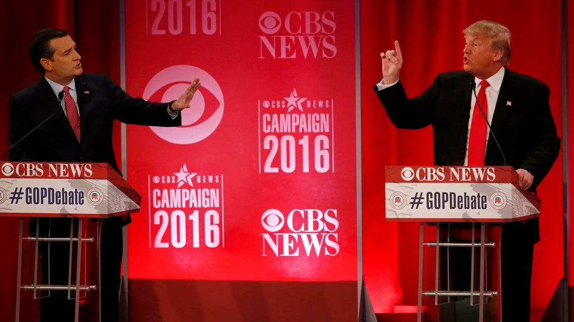 Republican U.S. presidential candidates Cruz and Trump directly debate each other at the Republican U.S. presidential candidates debate sponsored by CBS News and the Republican National Committee in Greenville. (Reuters)