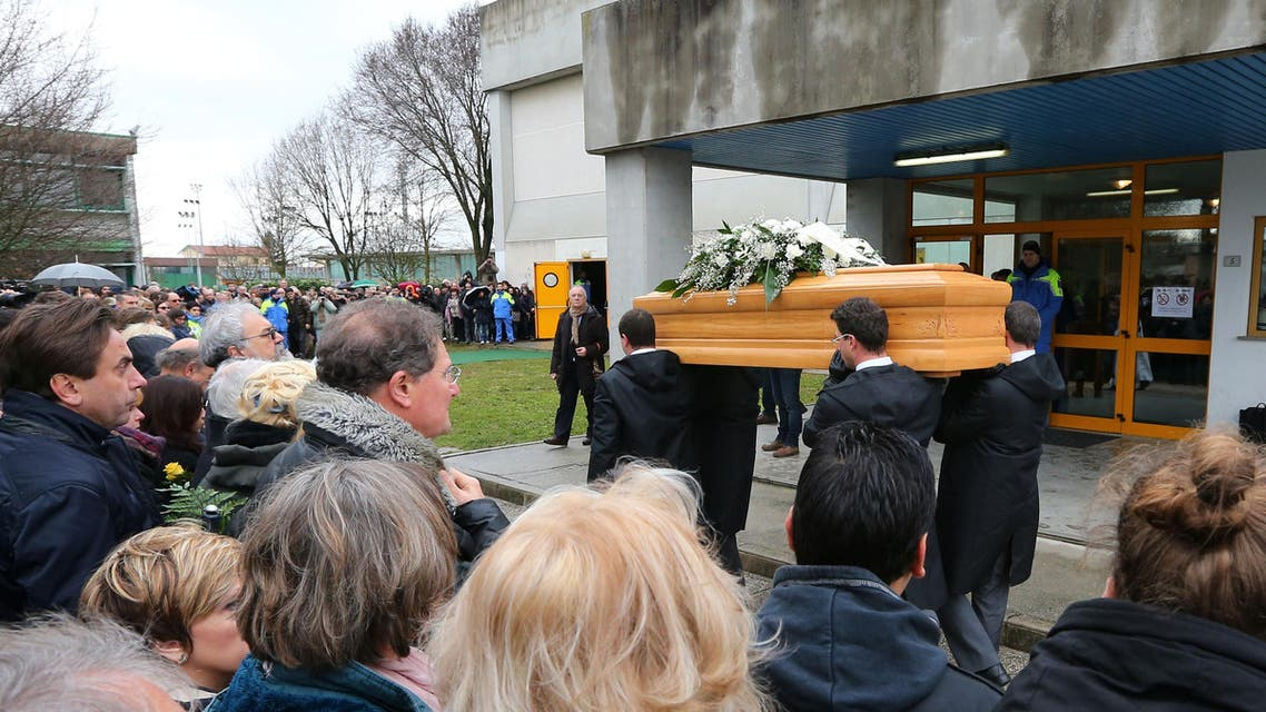 In this Friday, Feb. 12, 2016 file photo, The coffin of Giulio Regeni arrives at the church for his funeral service in Fiumicello, Northern Italy. (AP)