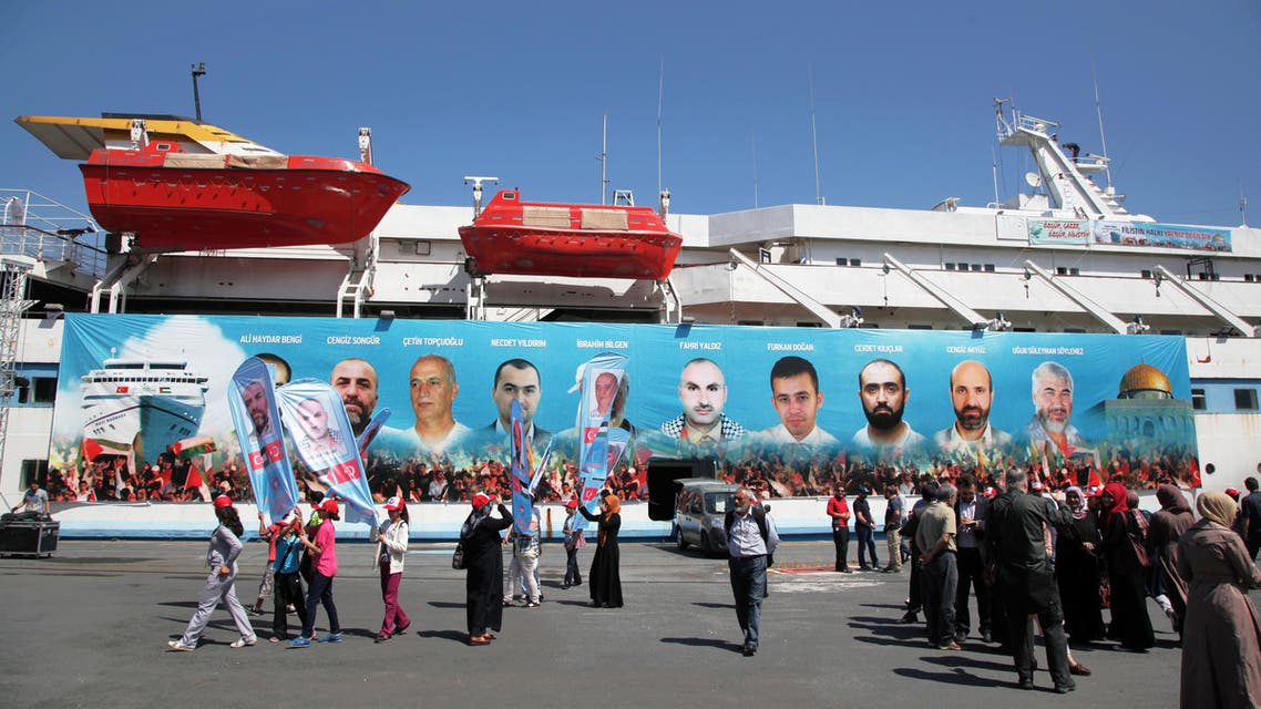 Pro-Palestinian Turks gather on the fourth anniversary of the Mavi Marmara ship, the lead boat of a flotilla headed to the Gaza Strip which was stormed by Israeli naval commandos in a predawn confrontation in the Mediterranean, May 31, 2010, in Istanbul, Turkey, Friday, May 30, 2014.