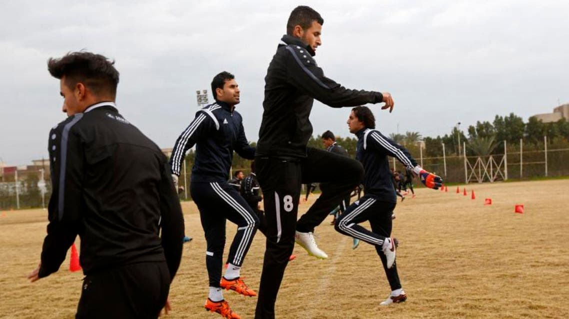 In this Saturday, Feb. 6, 2016 photo, Soccer player Ayman Hussein, center, trains with his team in Baghdad, Iraq. Islamic State militants drove Hussein from his home. Eighteen months later, he sent Iraq's soccer team to the Olympics. Hussein kicked the game-winning goal against Qatar last month in a qualifying match, uniting Iraqis in a rare moment of triumph and becoming a national celebrity. But his journey to Brazil has been marked by the same violence and displacement that have shattered the lives of so many of his fans. (AP)