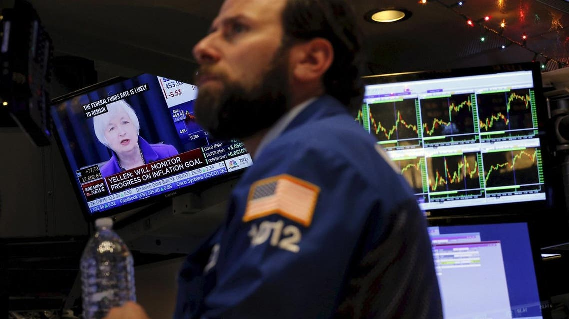 File photo of a trader working on the floor of the New York Stock Exchange (NYSE) in New York. (Reuters)
