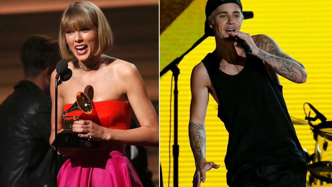 """Justin Bieber performs """"Where are U Now"""" with Jack U; Taylor Swift accepts the award for Album of the Year for """"1989."""" (Reuters)"""