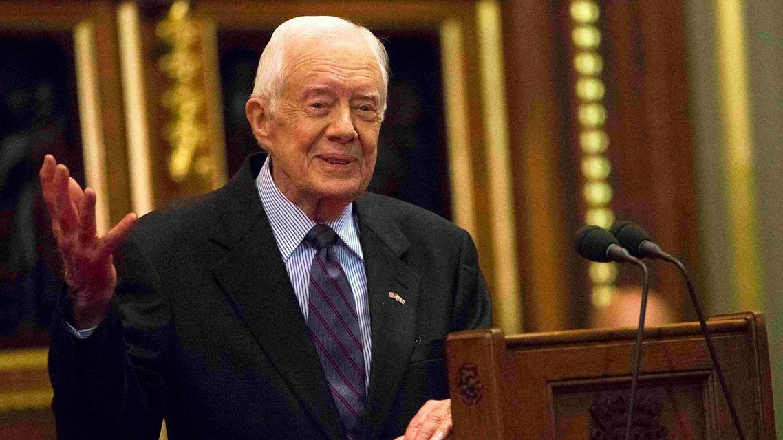 Former U.S. President Jimmy Carter delivers a lecture on the eradication of the Guinea worm, at the House of Lords in London. (Reuters)