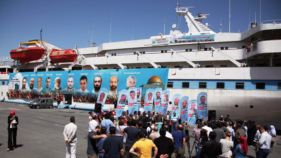 Pro-Palestinian Turks gather on the fourth anniversary of the Mavi Marmara ship, the lead boat of a flotilla headed to the Gaza Strip which was stormed by Israeli naval commandos in a predawn confrontation in the Mediterranean May 31, 2010, in Istanbul, Turkey, Friday, May 30, 2014.