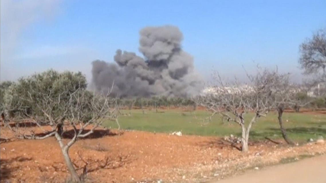 Still image taken from video shows heavy smoke rising from a location said to be a Medecins Sans Frontieres (MSF) supported hospital in Marat al Numan, Idlib, Syria. (Reuters)