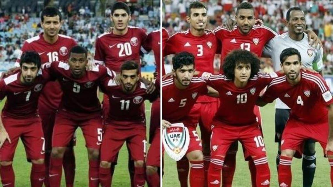 (L) Qatar's national team, (R) UAE's national team. (File photos: Reuters)
