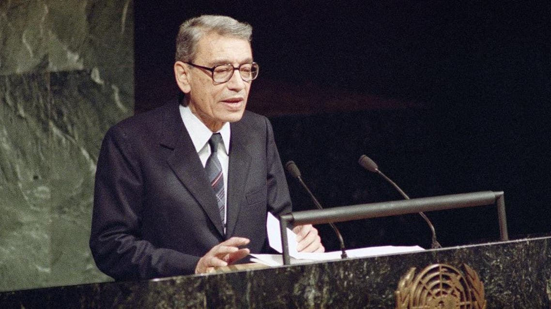 Boutros Boutros-Ghali, currently Deputy Foreign Minister of Egypt, addresses the United Nations General Assembly after being sworn in as the new U.S. Secretary-General in United Nations on Tuesday, Dec. 3, 1991. Boutros will take over his duties from outgoing Secretary-General Javier de Cuellar on January 1. (AP Photo/Marty Lederhandler)
