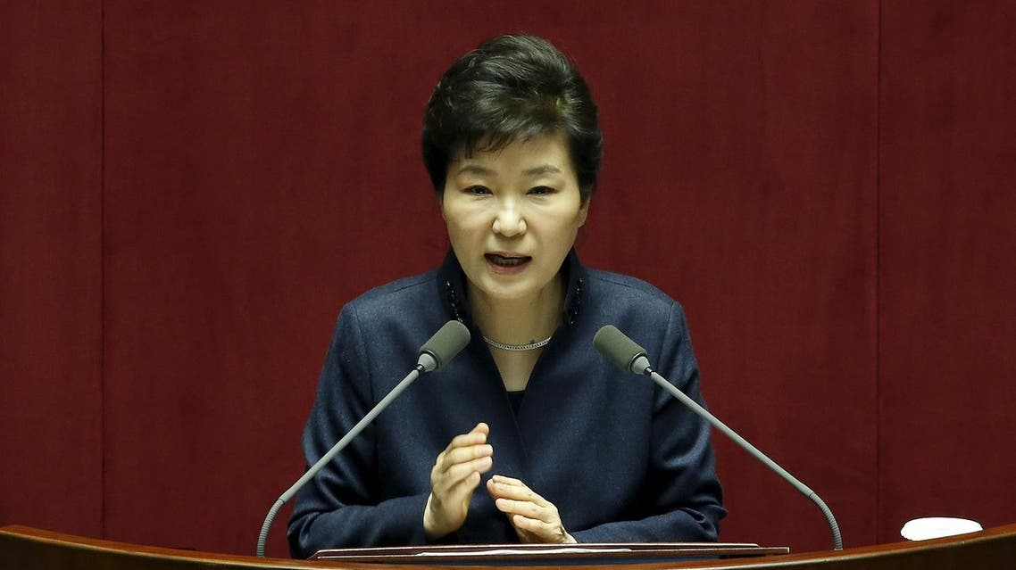 South Korean President Park Geun-hye delivers her speech during a plenary session at the National Assembly in Seoul, South Korea, February 16, 2016. REUTERS