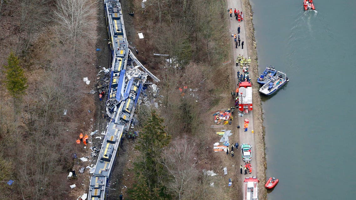 Aerial view of rescue teams at the site where two trains collided head-on near Bad Aibling, Germany, Tuesday, Feb. 9, 2016. AP