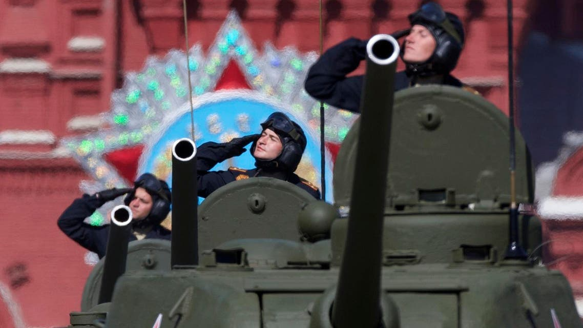Russian army soldiers drive their T-34 tanks along the Red Square during a general rehearsal for the Victory Day military parade. (File photo: AP)
