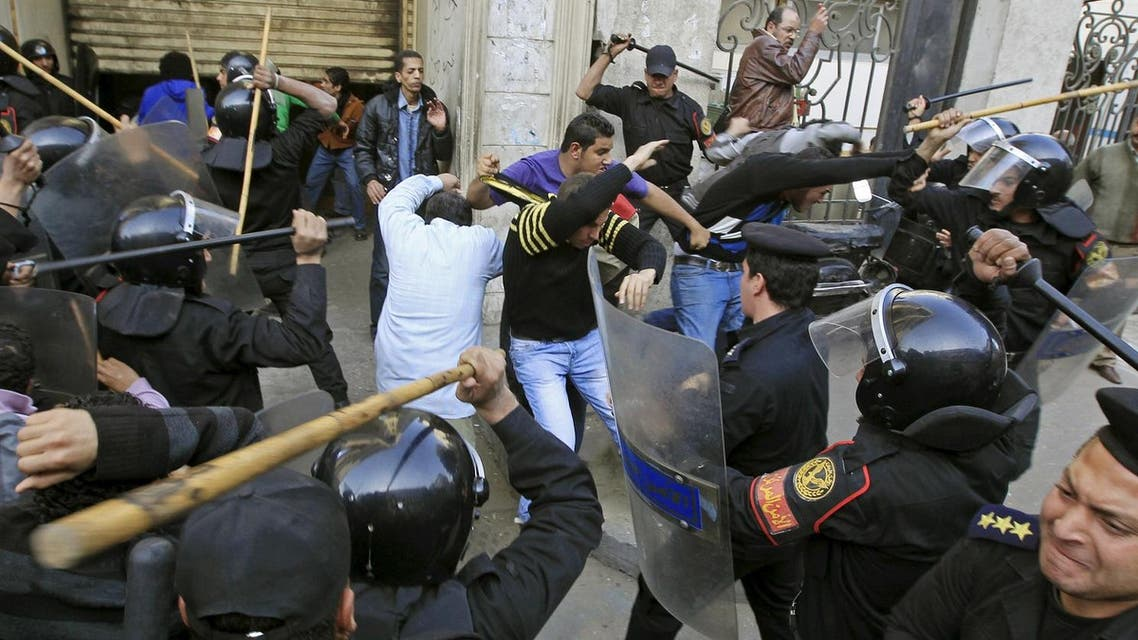 Riot police clash with protesters in Cairo January 26, 2011. Five years ago thousands of protesters took to the streets demanding the end of the 30-year reign of President Mubarak as Egypt became the second country to join the Arab Spring. (Reuters)