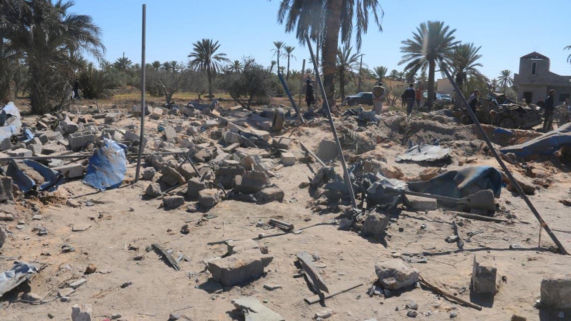 آثار الضربة الغارة غارة الأميركية أميركا على صبراتة صبراته داعش ليبيا