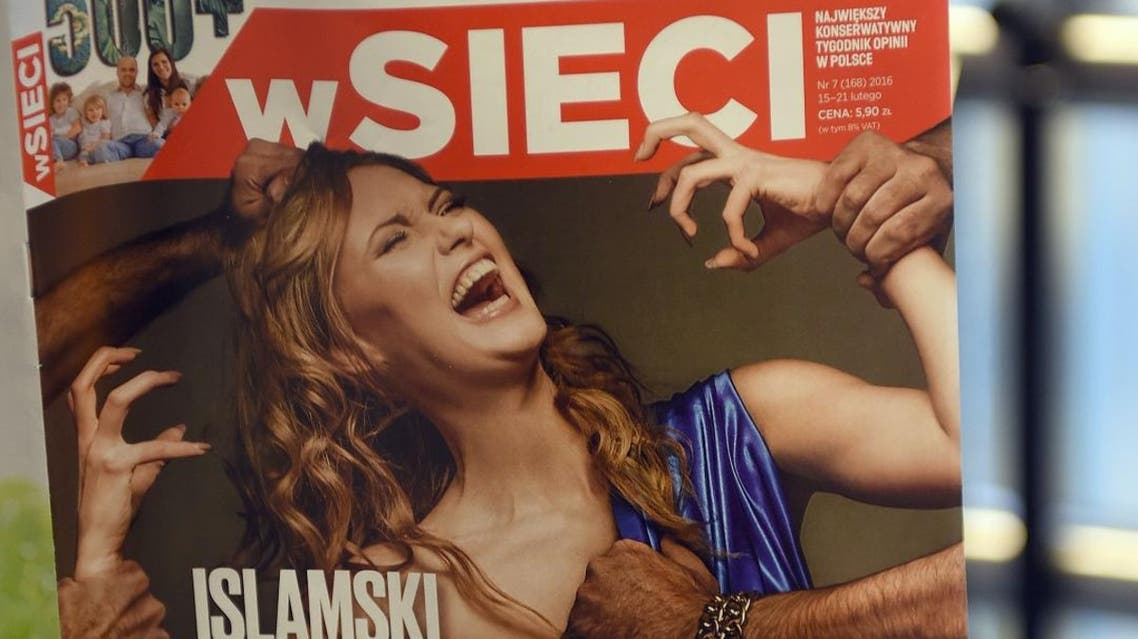 """This picture shows a front page of a xenophobic and nationalist Polish weekly """"W sieci"""" ( On the web) with title """"Islamic rape of Europe"""" (AFP)"""