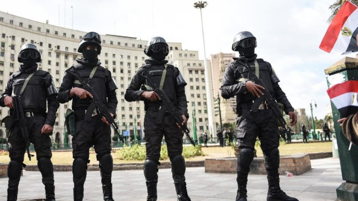 Members of the Egyptian police special forces stand guard on Cairo's landmark Tahrir Square on January 25, 2016, as the country marks the fifth anniversary of the 2011 uprising (AFP)
