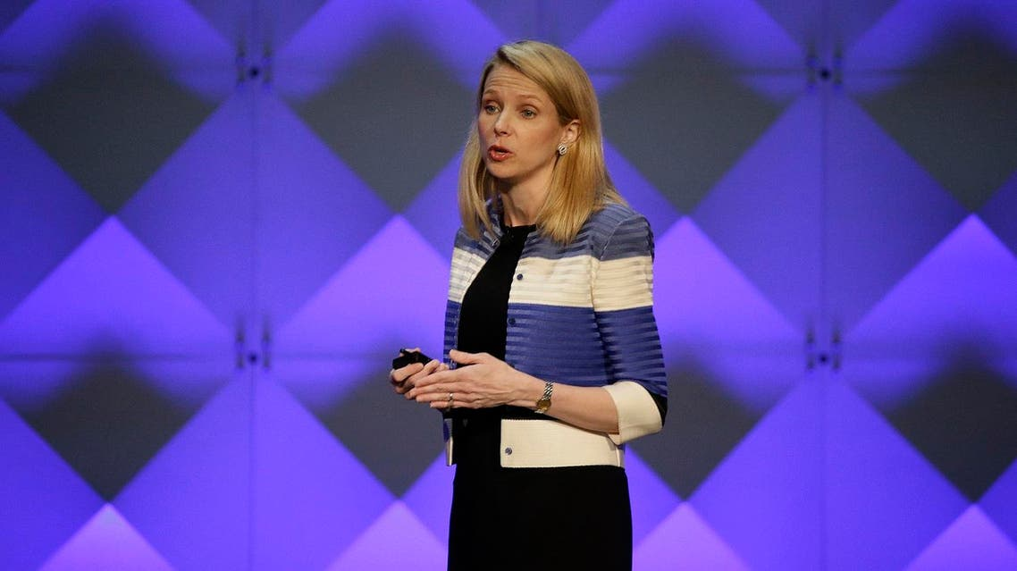 Yahoo CEO Marissa Mayer delivers the keynote address Thursday, Feb. 18, 2016, at the Yahoo Mobile Developer Conference in San Francisco. AP