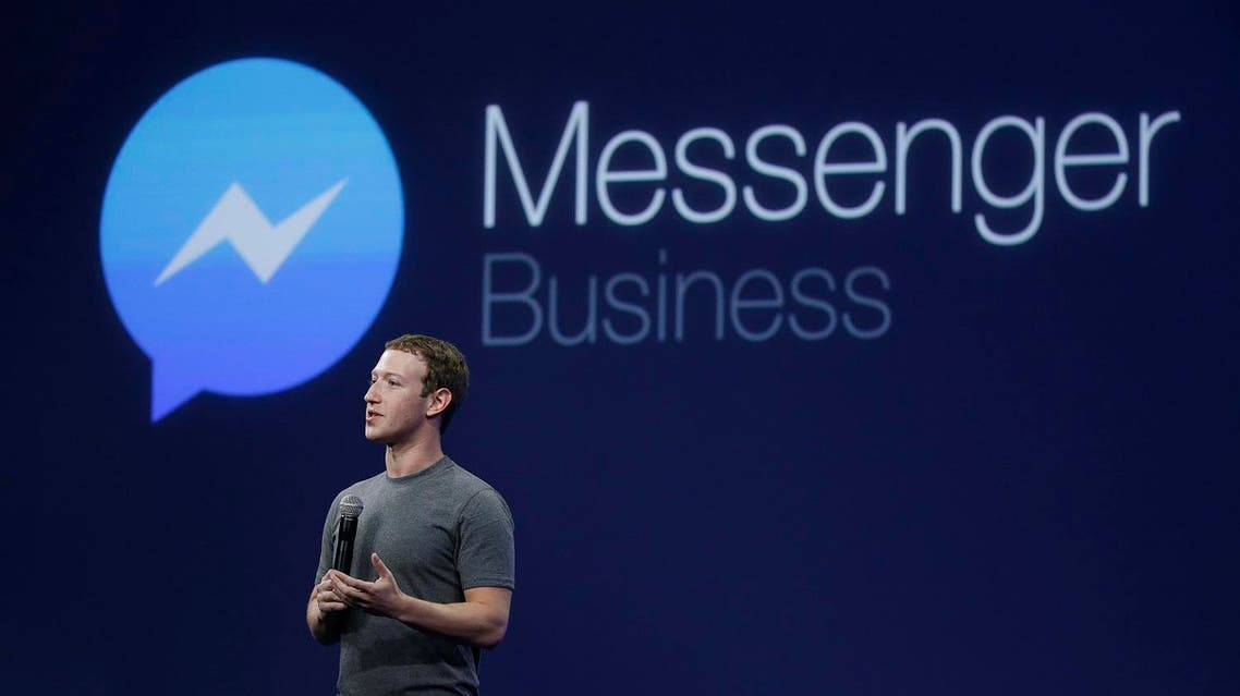 CEO Mark Zuckerberg talks about Messenger app during the Facebook F8 Developer Conference, Wednesday, March 25, 2015, in San Francisco. AP