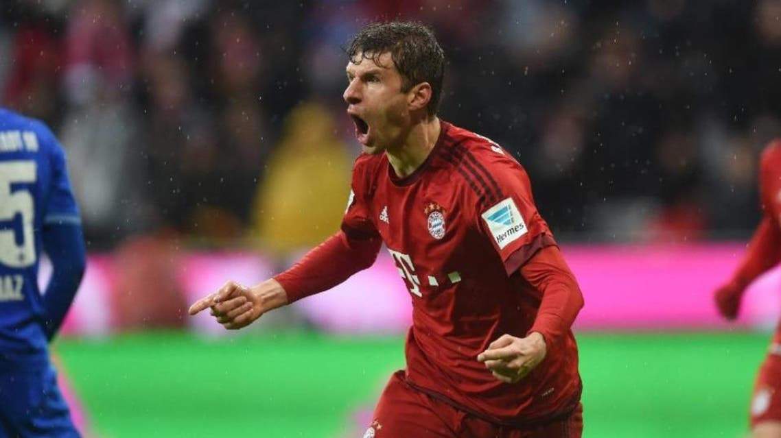 Bayern Munich's striker Thomas Mueller celebrates after the second goal for Munich during the German first division Bundesliga football match Bayern Munich and SV Darmstadt 98 in Munich, on February 20, 2016 (AFP)
