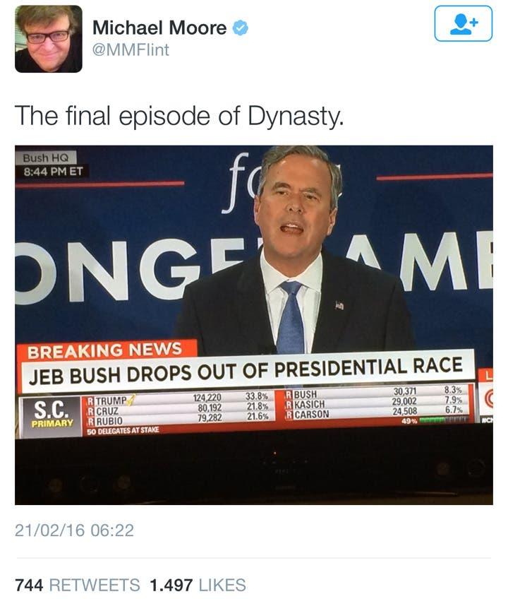 تغريدة مايكل مور عن جيب بوش