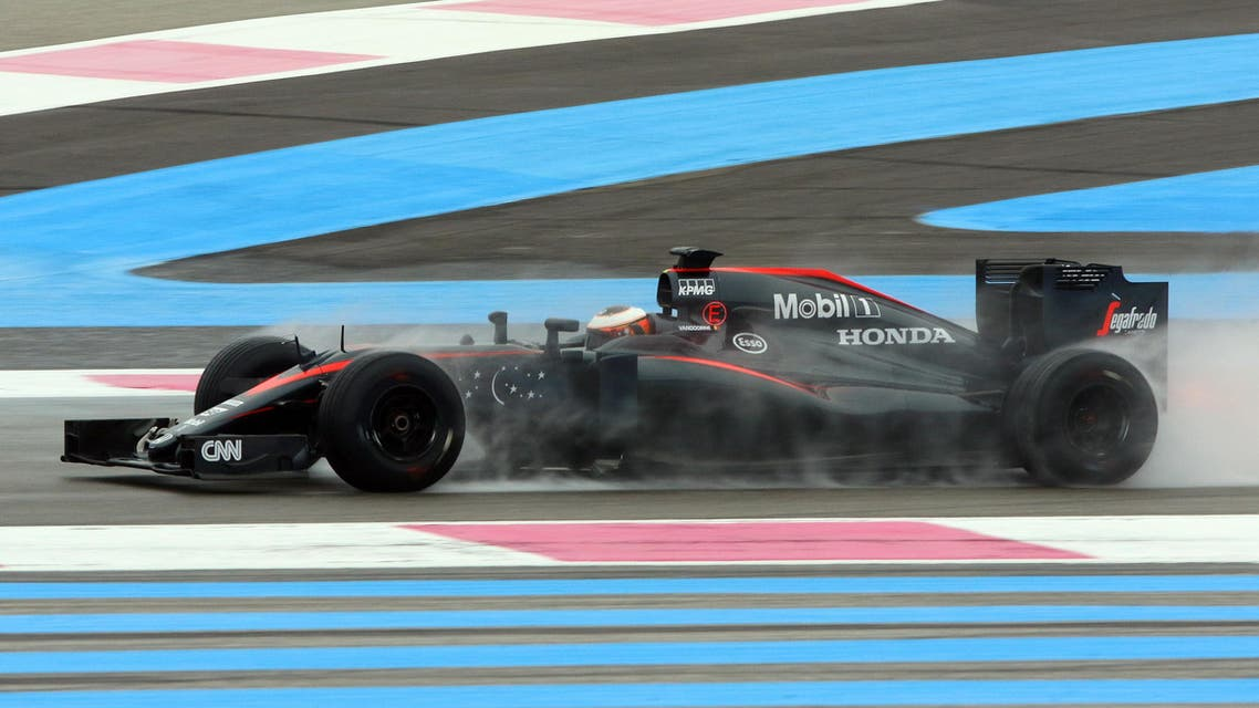 McLaren driver Stoffel Vandoorne, of Belgium, steers his car during a testing session of Pirelli Formula One rain tires, at the Paul Ricard circuit, in Le Castellet, near Marseille, southern France, Monday, Jan. 25, 2016. (AP)
