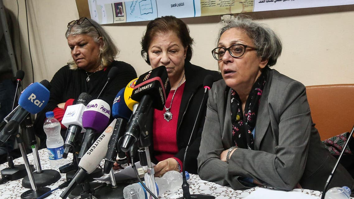 Aida Seif el-Dawla , Suzan Fayyad, center, and Magda Adly, right, co-founder of El Nadeem Center for Rehabilitation of Victims of Violence, hold a press conference in Cairo, Sunday, Feb. 21, 2016. AP
