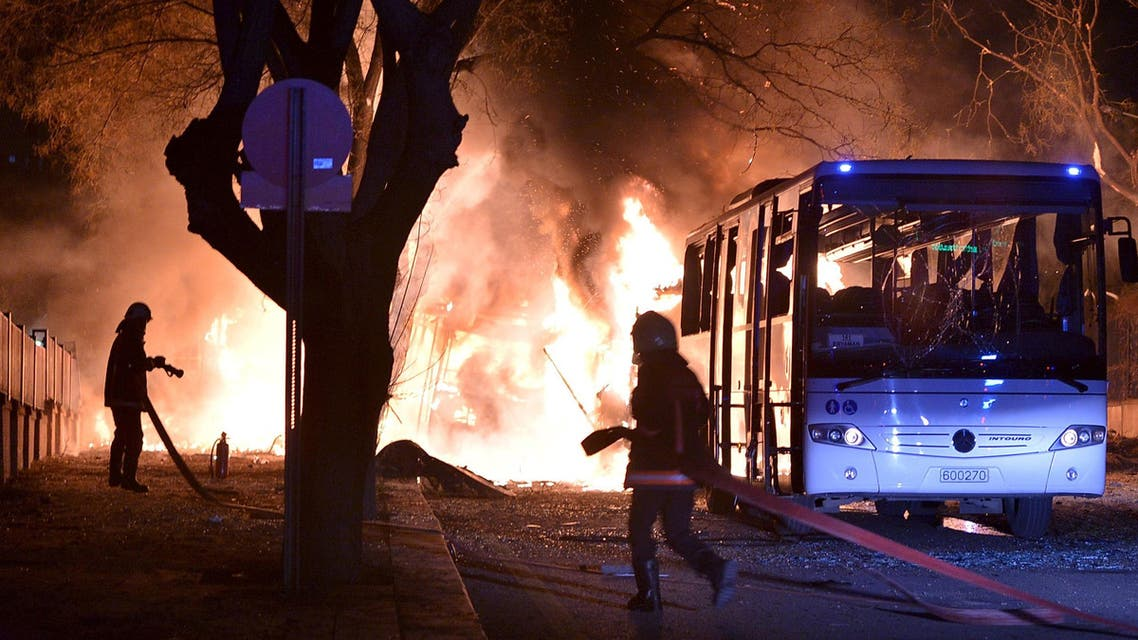 Firefighters prepare to extinguish fire after an explosion in Ankara, Turkey February 17, 2016. Reuters