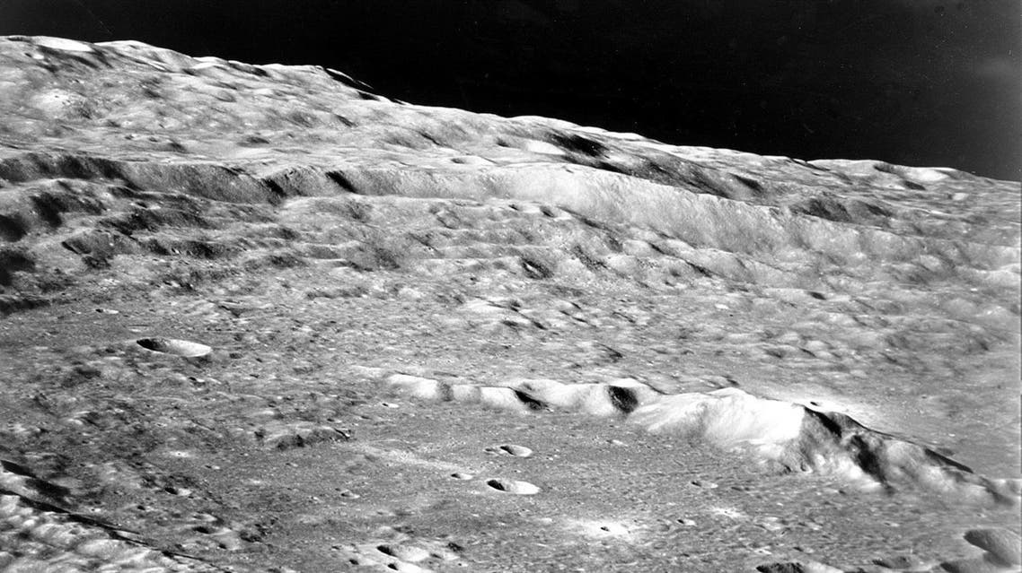 This photo, taken from the Apollo 10 command module during its exploratory flight, shows mountain ridges on the moon's surface in May, 1969. (AP)