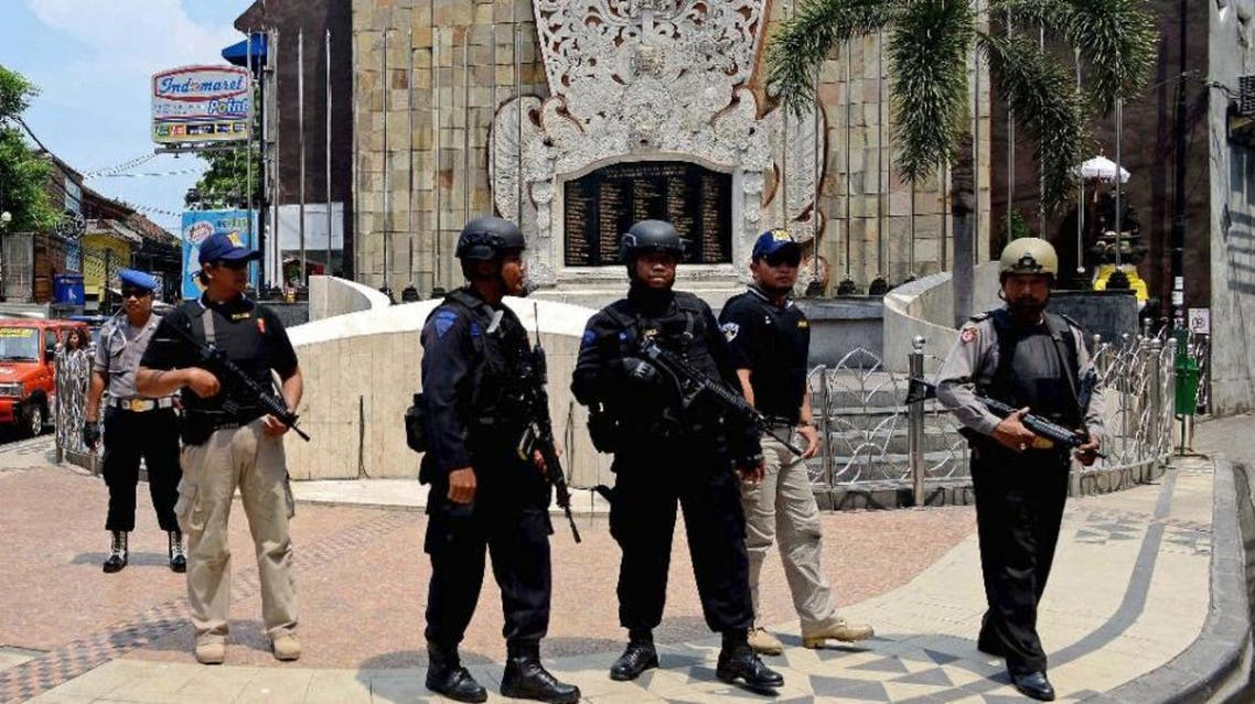 Security has been increased in Indonesia after four civilians and four militants were killed in a bomb and gun attack along Jakarta's central thoroughfare on January 14 which was claimed by the Islamic State (AFP)