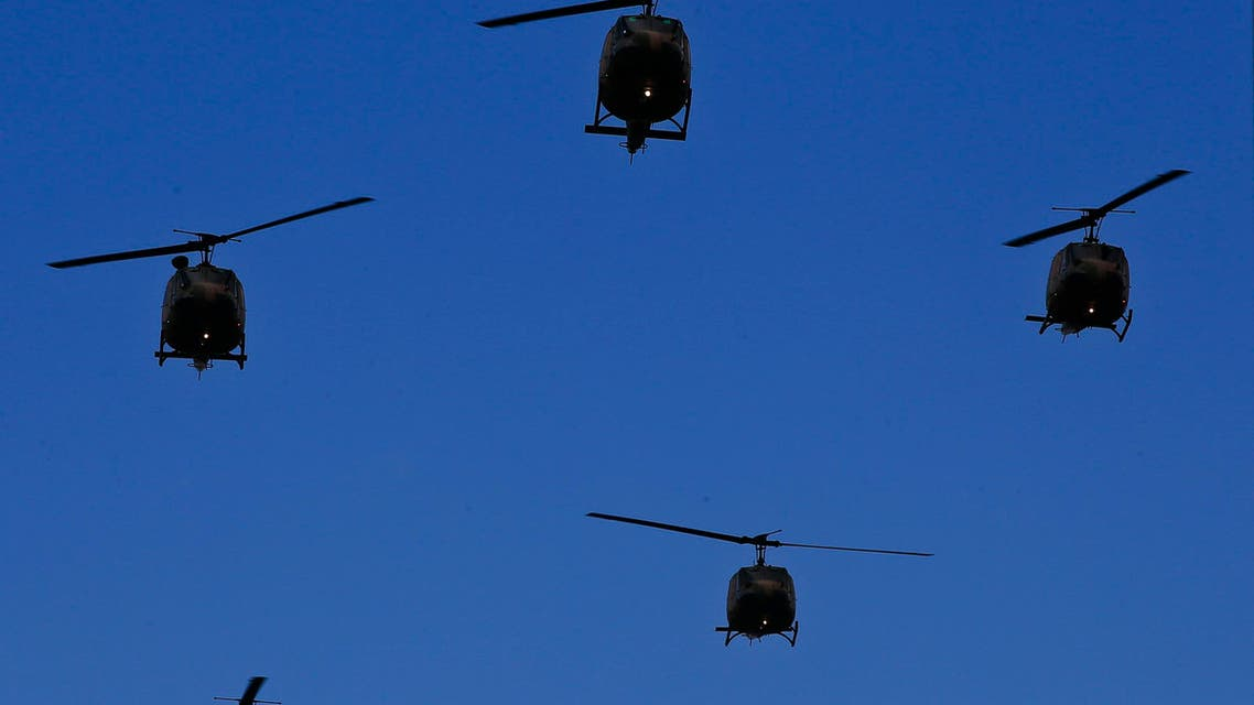 Turkish forces helicopters fly past over a parade for the anniversary celebrations of the Turkish Republic in Istanbul, Thursday, Oct. 29, 2015. (AP)