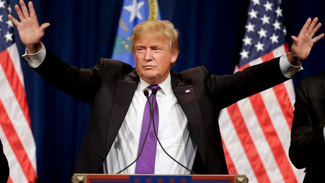 Republican presidential candidate Donald Trump speaks during a caucus night rally Tuesday, Feb. 23, 2016, in Las Vegas. (AP)