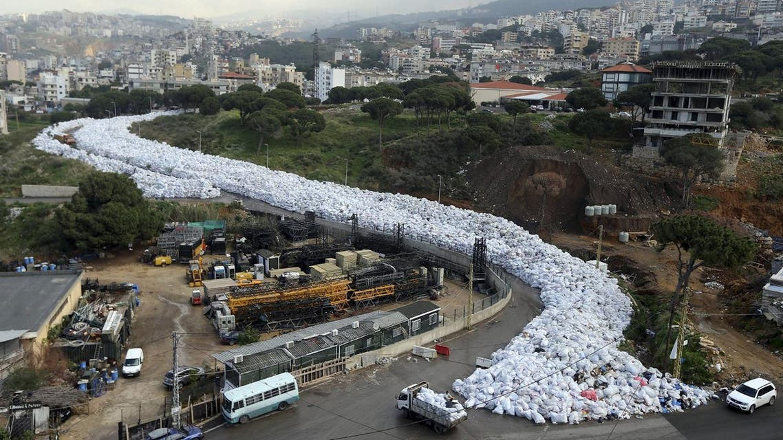 A general view shows packed garbage bags in Jdeideh, Beirut, Lebanon February 23, 2016. REUTERS