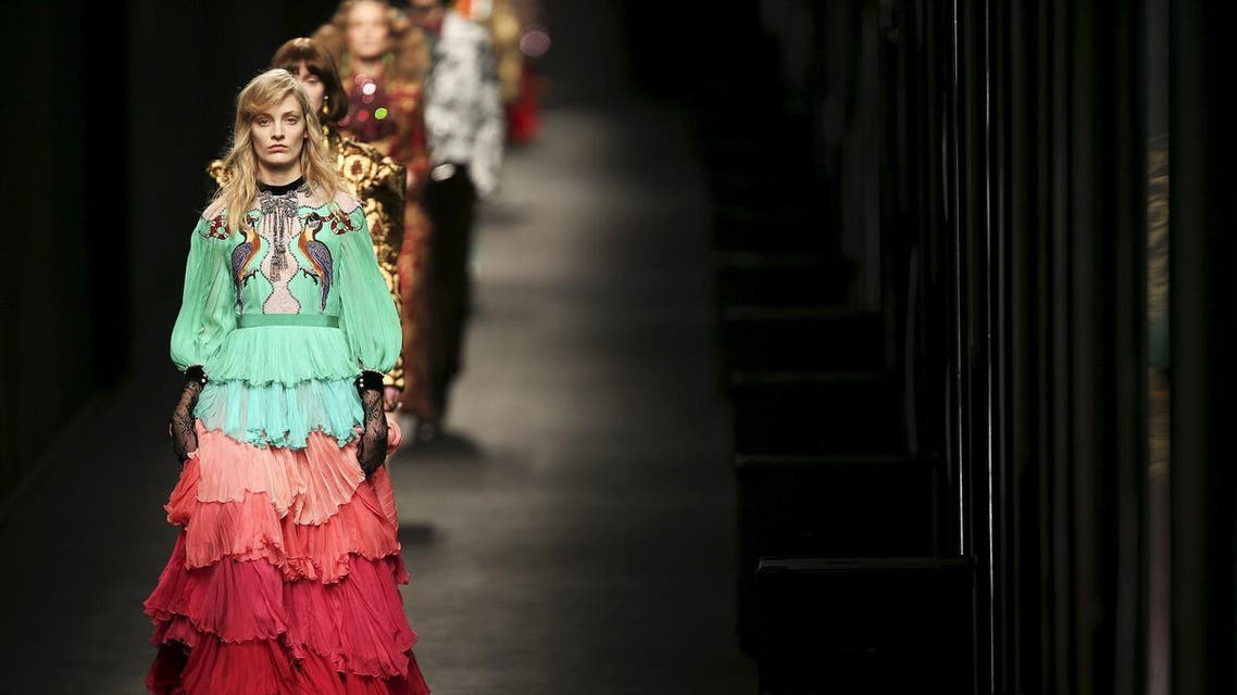 Models present creations from the Gucci Autumn/Winter 2016 woman collection during Milan Fashion Week, Italy, February 24, 2016. REUTERS