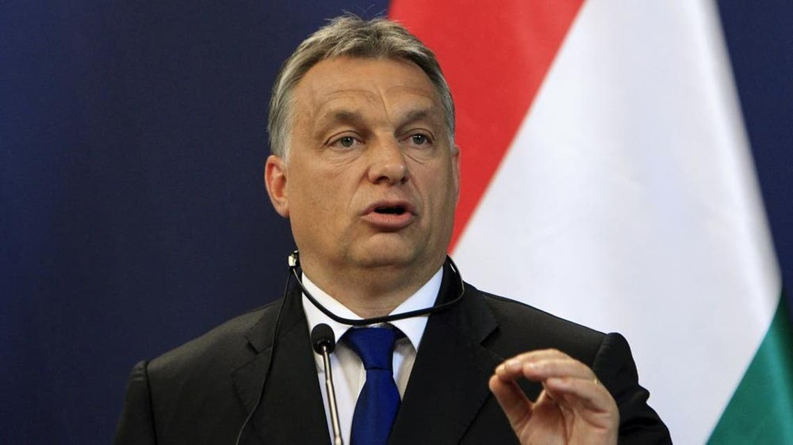 Hungarian Prime Minister Viktor Orban attends a news conference with Serbian Prime Minister Aleksandar Vucic (not pictured) in Budapest, Hungary, July 1, 2015 (Reuters)