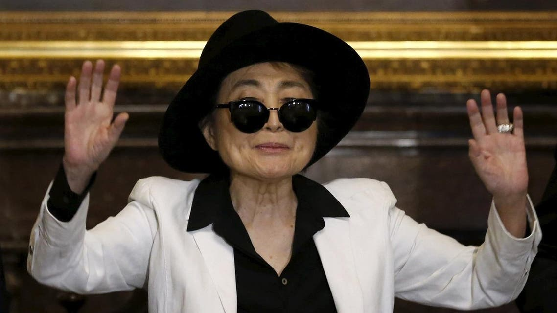 Artist Yoko Ono gestures before she was honored as 'Illustrious Visitor' by Mexico City's mayor Miguel Angel Mancera at Mexico City's town hall in Mexico City, February 3, 2016. REUTERS