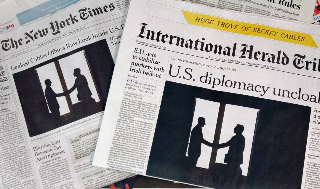 The New York Times and and International Herald Tribune newspaper front pages are pictured in New York in this November 29, 2010 file photograph. (Reuters)
