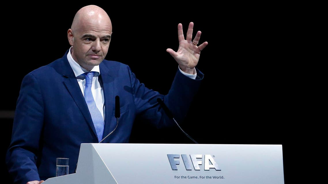 FIFA presidential candidate Gianni Infantino of Italy and Switzerland makes a speech during the Extraordinary Congress in Zurich, Switzerland February 26, 2016. REUTERS