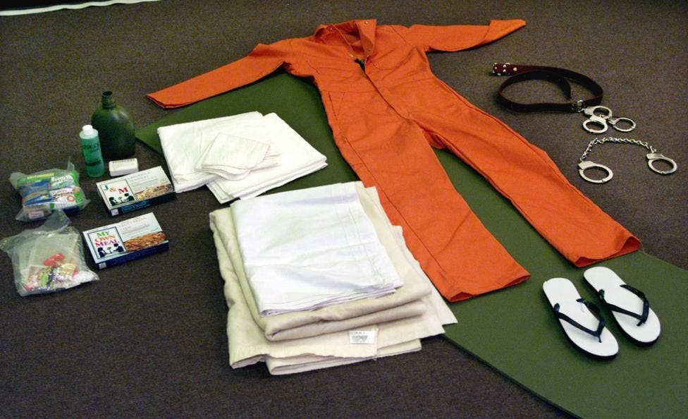 Items which are given to Afghan detainees are displayed, May 1, 2002. (Reuters)