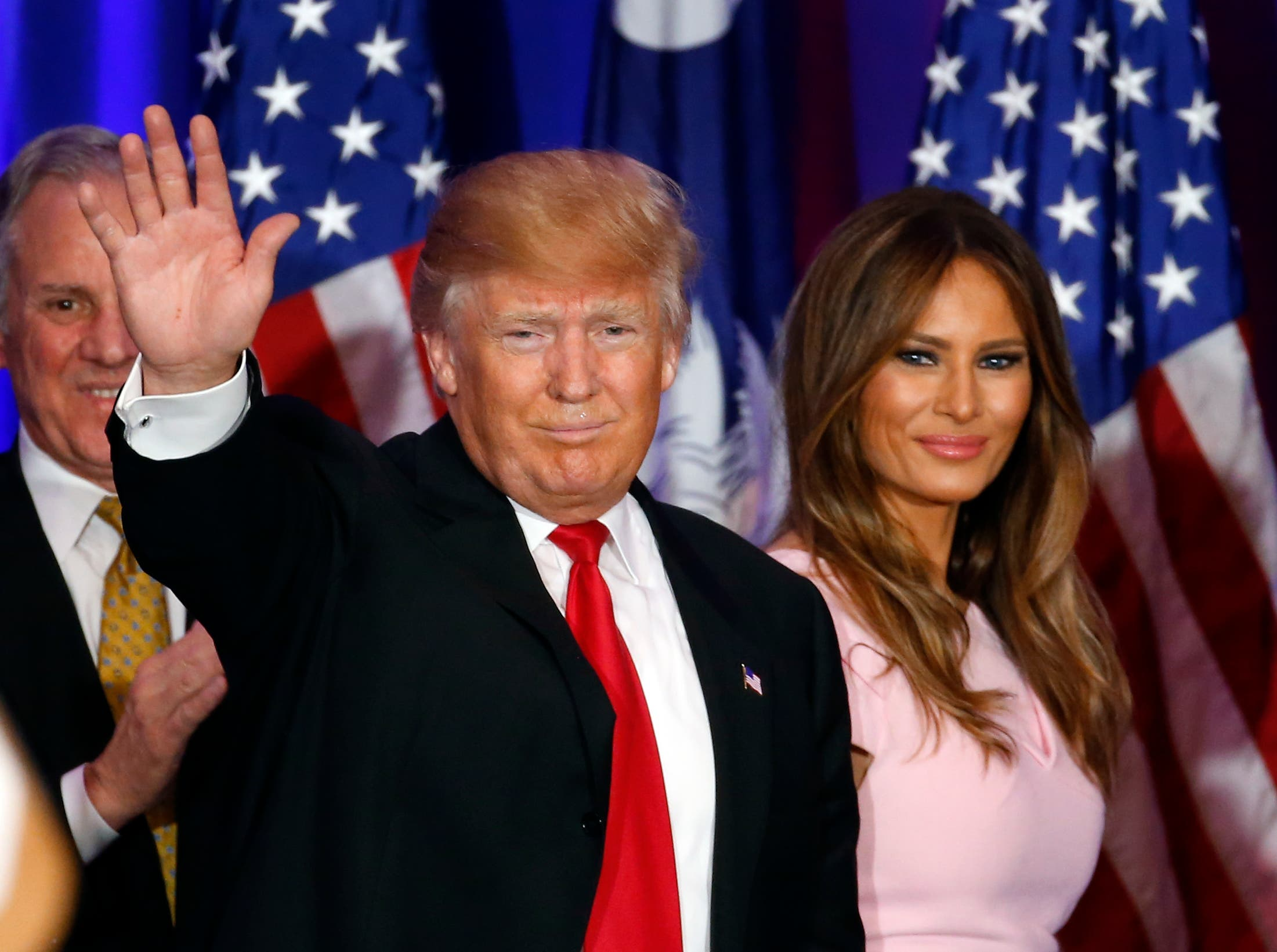 Despite Trump's solitary regret in the 'women department,' the Republican presidential frontrunner, seen at a rally in Feb. 20, 2016, says he is very satisfied in his marriage to Slovenia-born Melania Trump (R), who is 24 years his junior (AP)