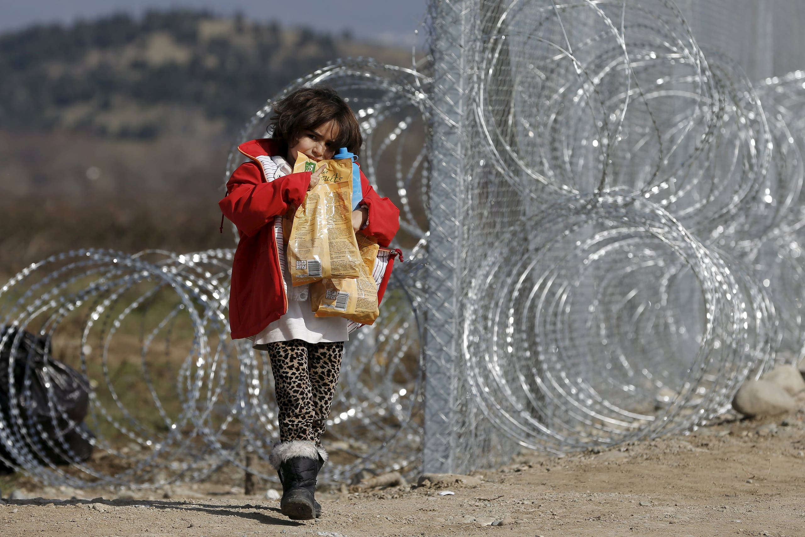 Afghan migrants wait in Macedonia